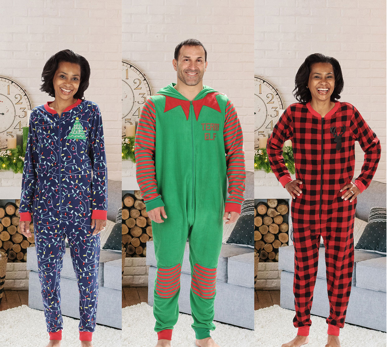 3 different designs of zip up pajamas on models