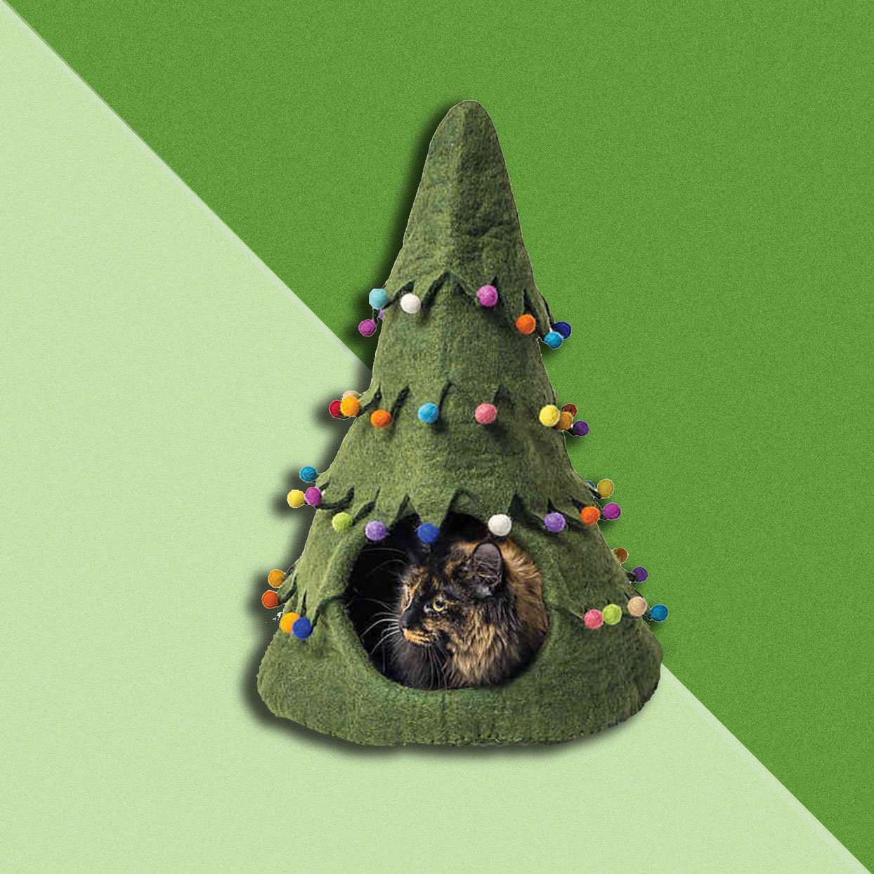 I'll Be Home for Christmas! Adorable Cat Houses For Sale Now Look Just Like Festive Trees