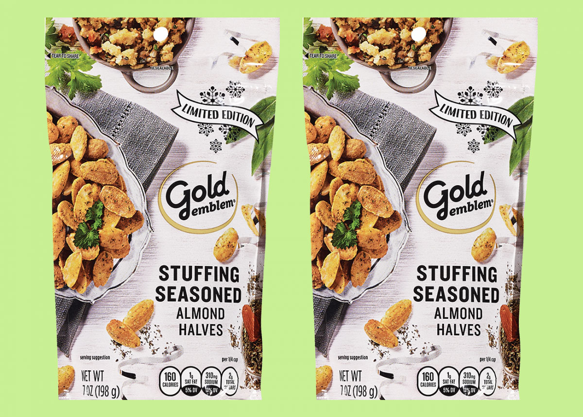 2 bags of Gold Emblem brand stuffing flavored almonds
