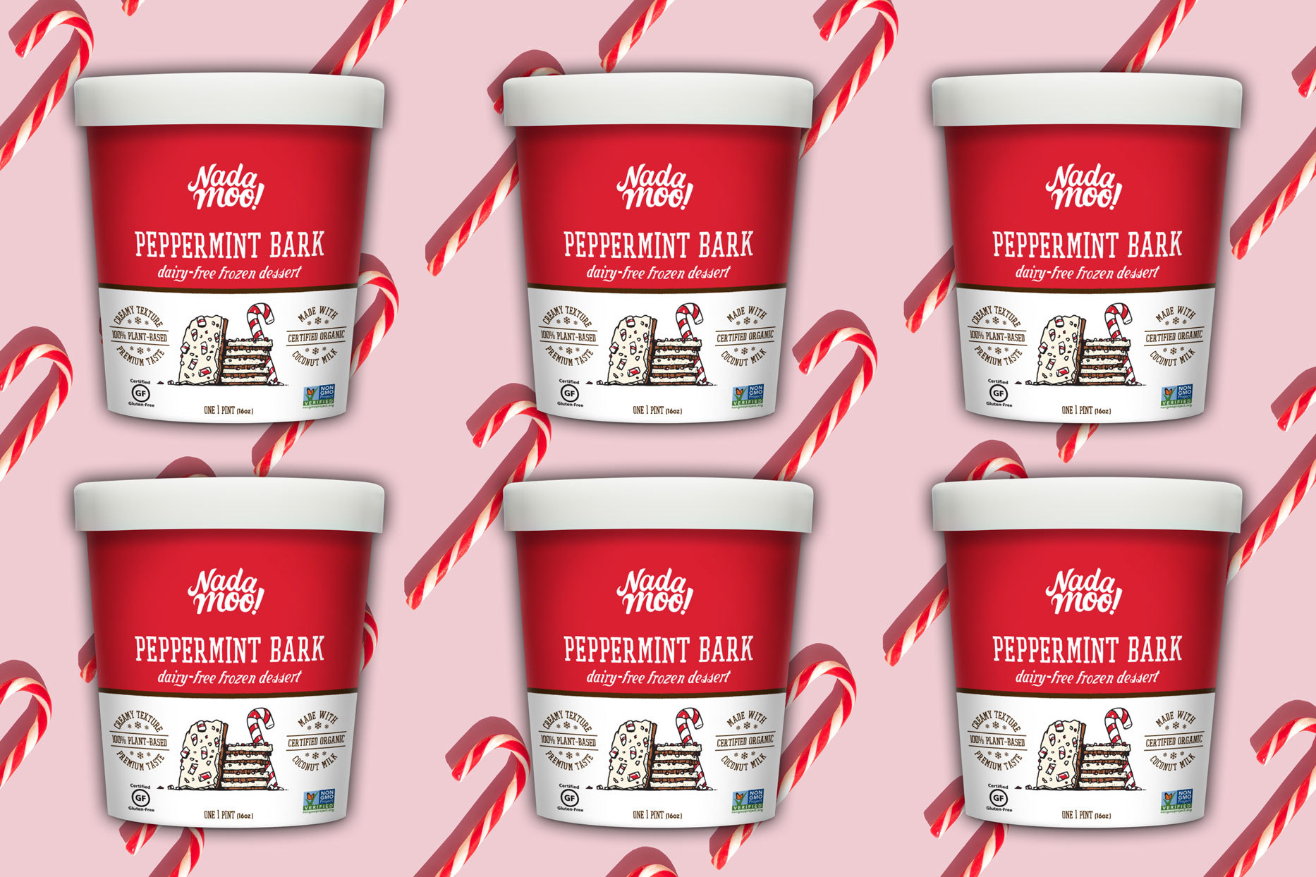 pint sized containers of Nada Moo Peppermint Bark Dairy-Free Frozen Dessert