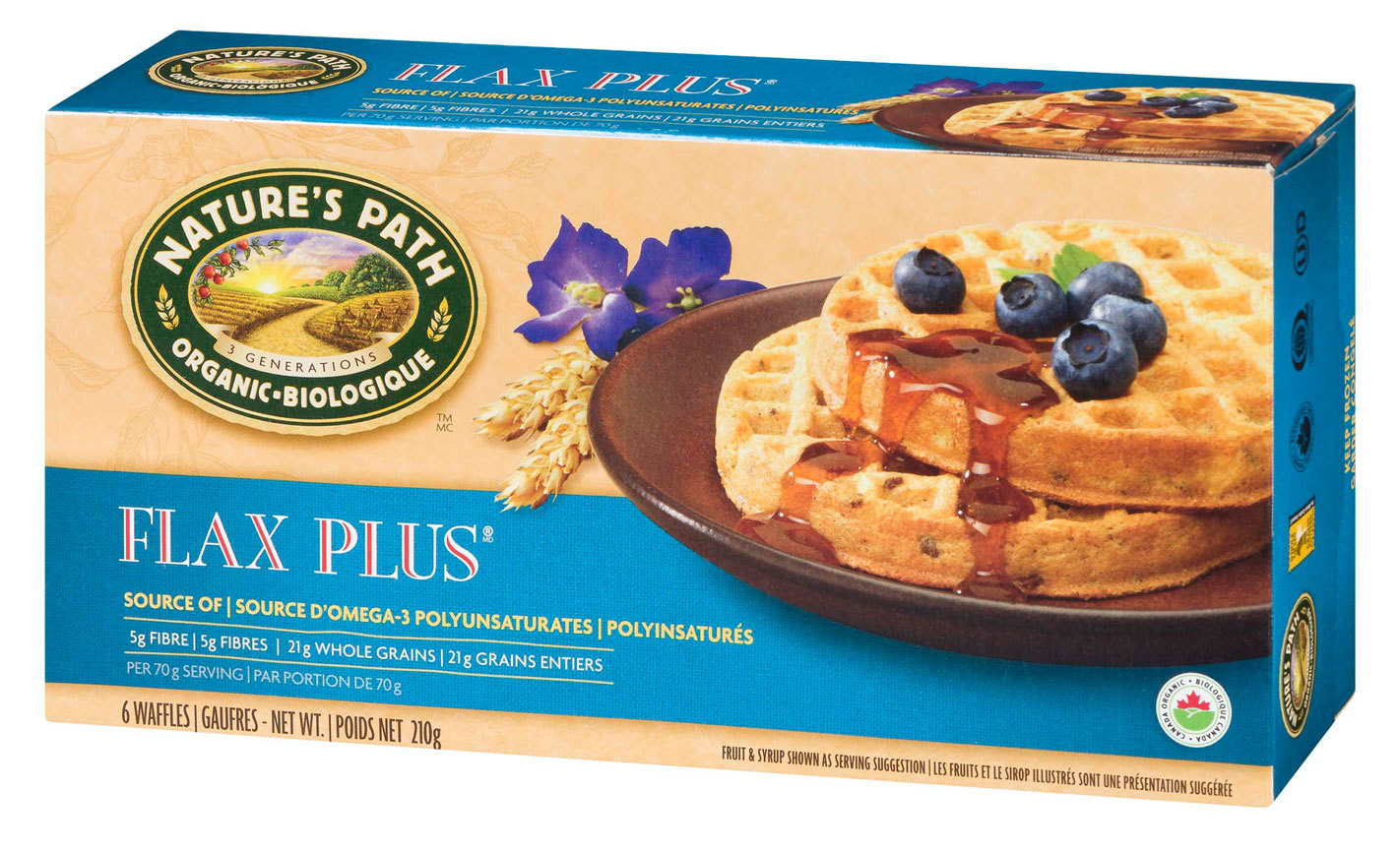 natures path brand flax plus waffles