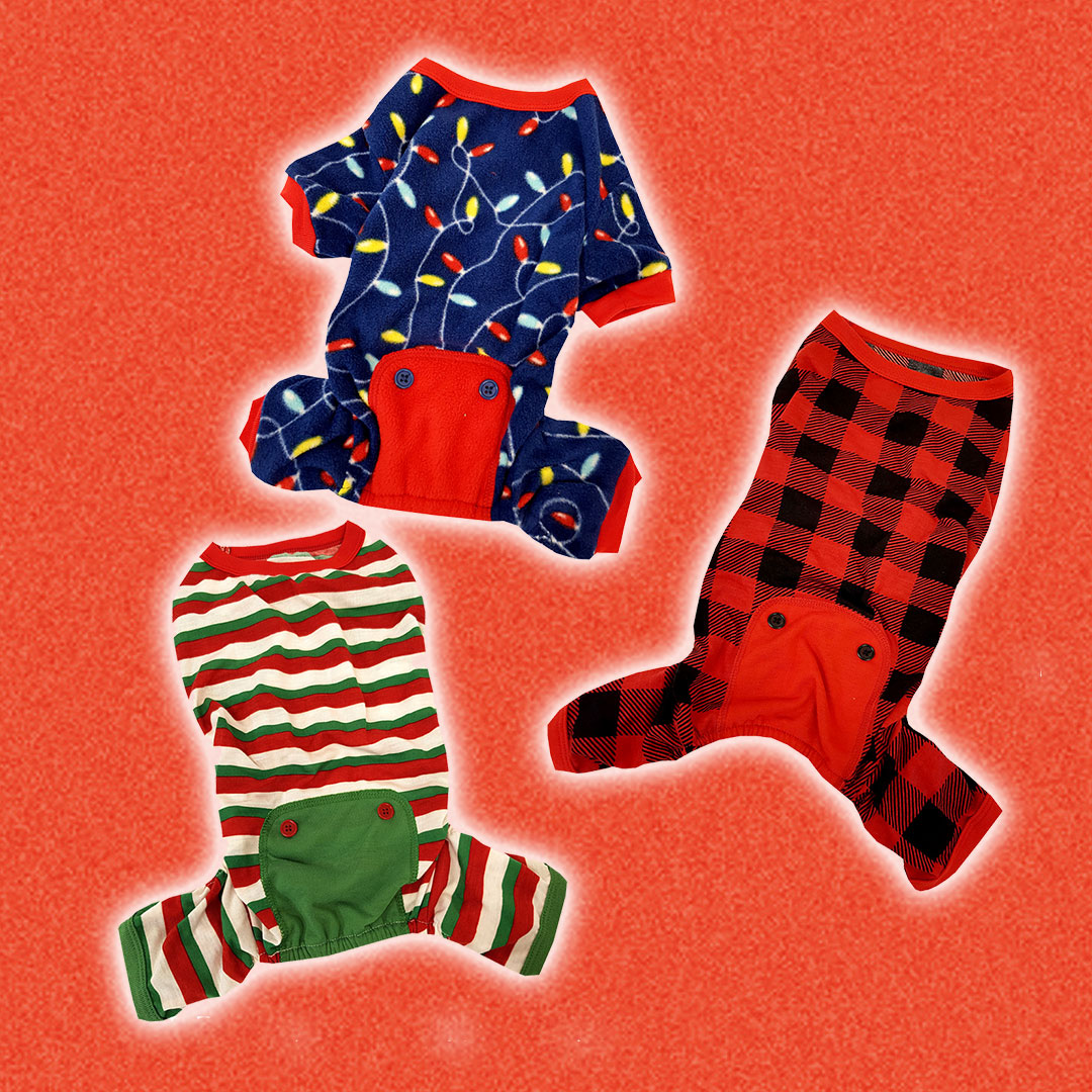 three designs of pet pajamas