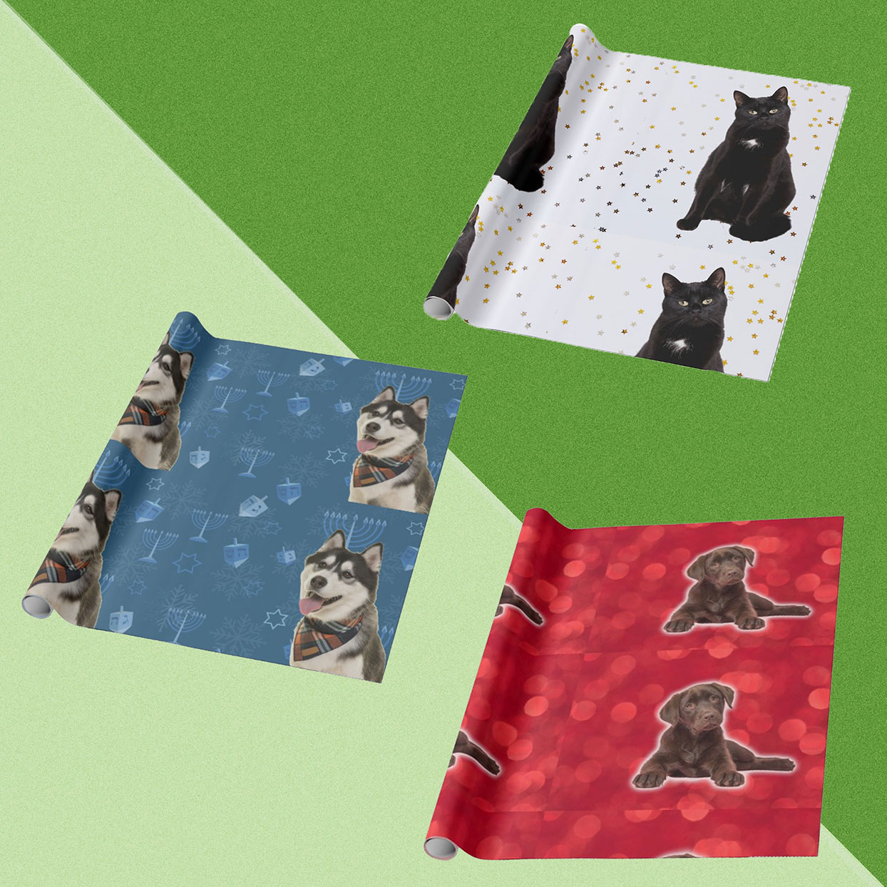 You Can Make Holiday Wrapping Paper with Your Pet's Face on It
