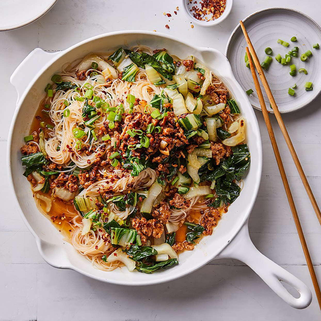 Spicy Noodles with Pork, Scallions and Bok Choy