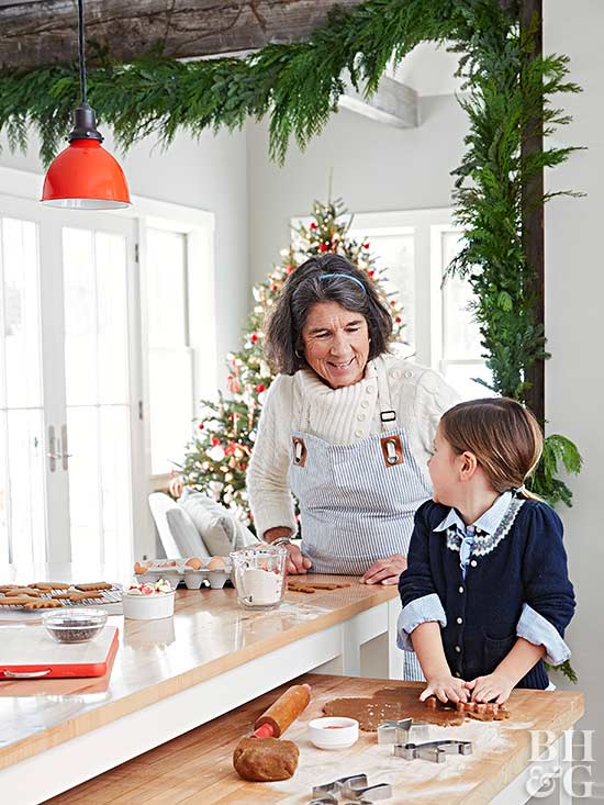 baking Christmas cookies with child