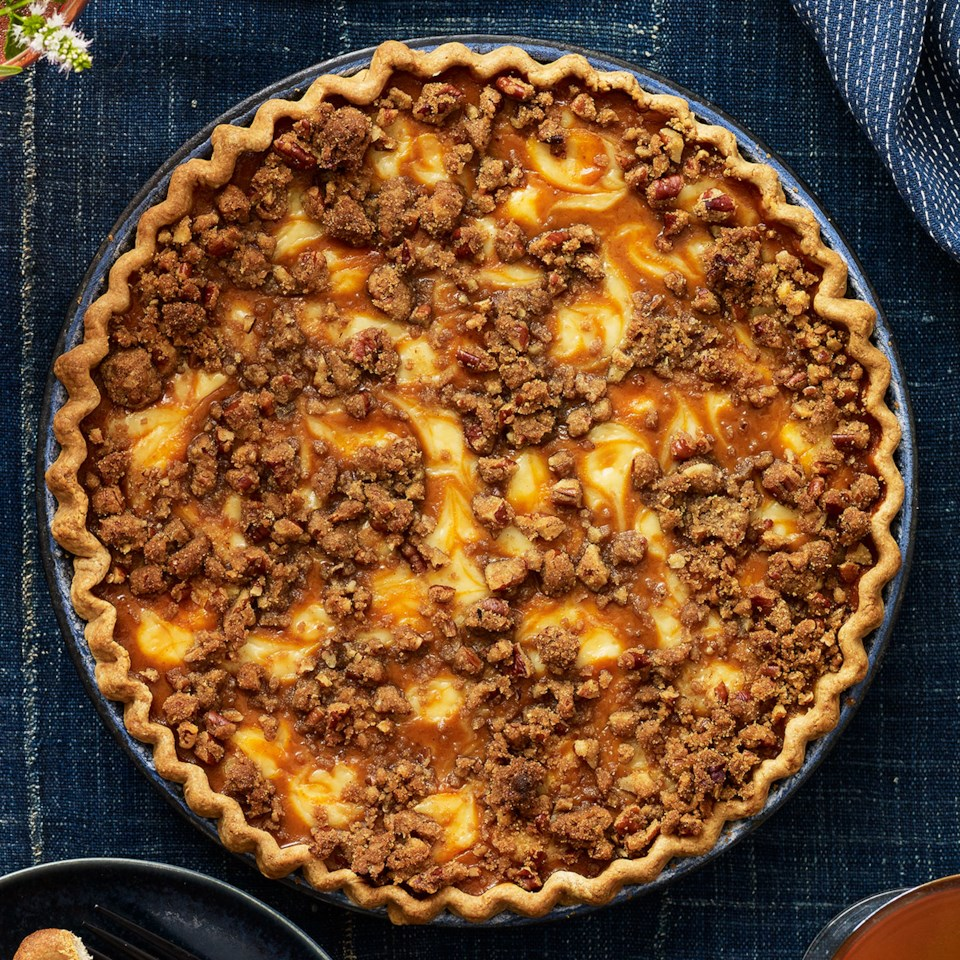Cream Cheese Pumpkin Pie with Pecan Streusel