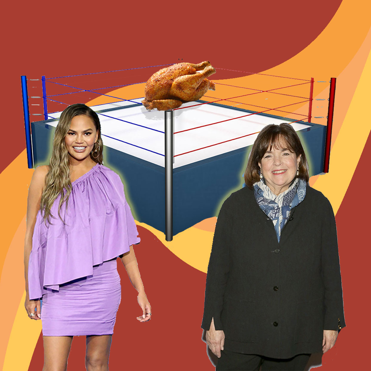 Chrissy Teigen and Ina Garten with graphic of a boxing ring with a beautifully cooked turkey in the ring