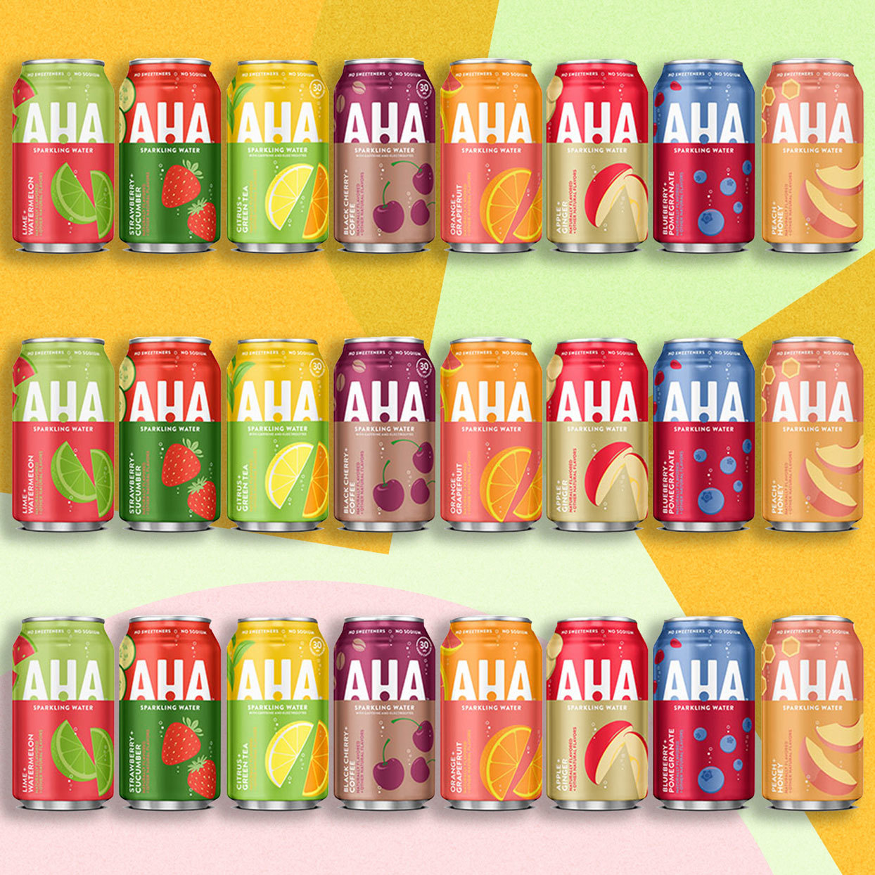 many different flavors of canned Aha Sparkling Water