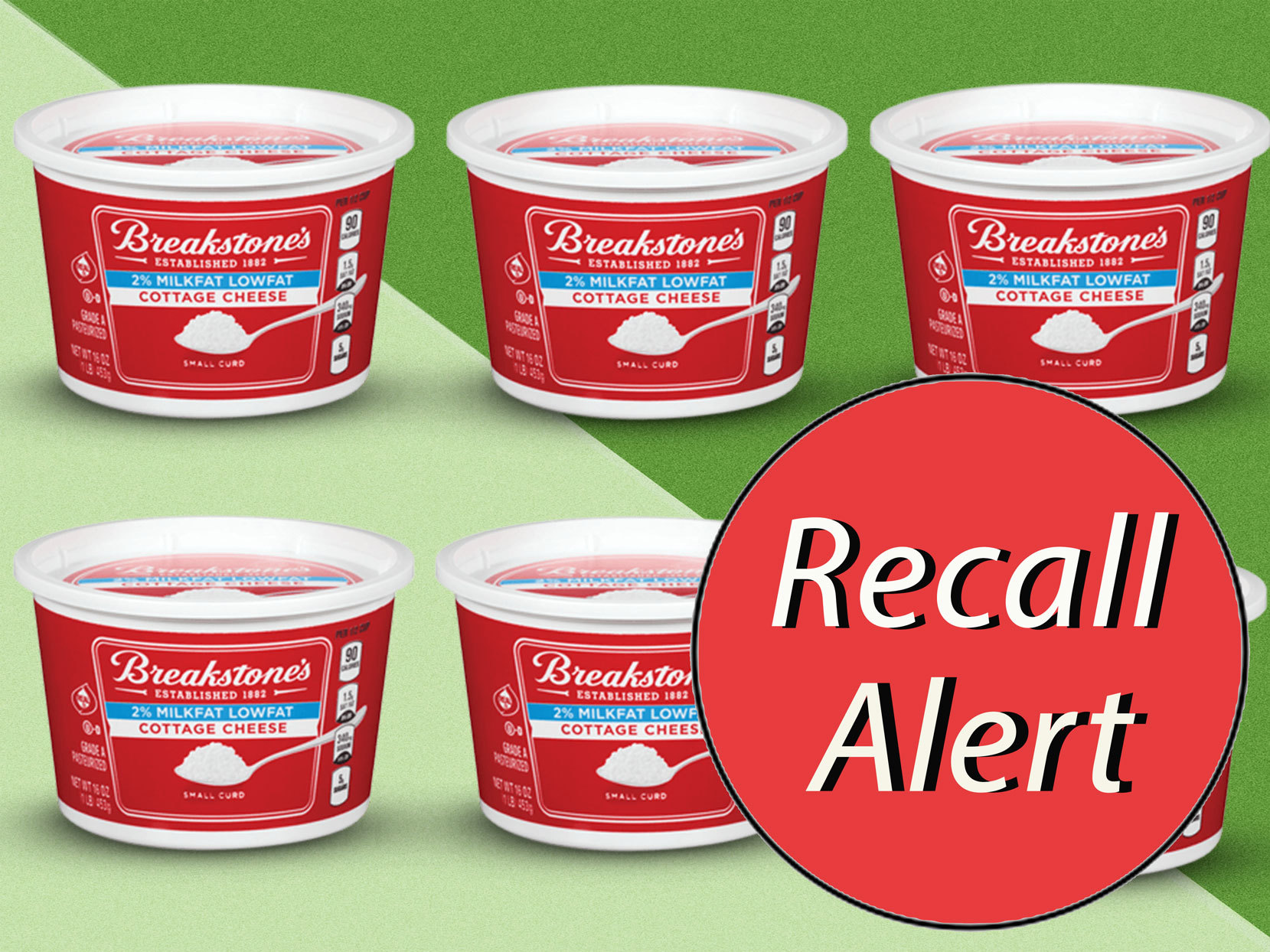 Tubs of Breakstone's Cottage Cheese with Recall Alert sticker overlaying image