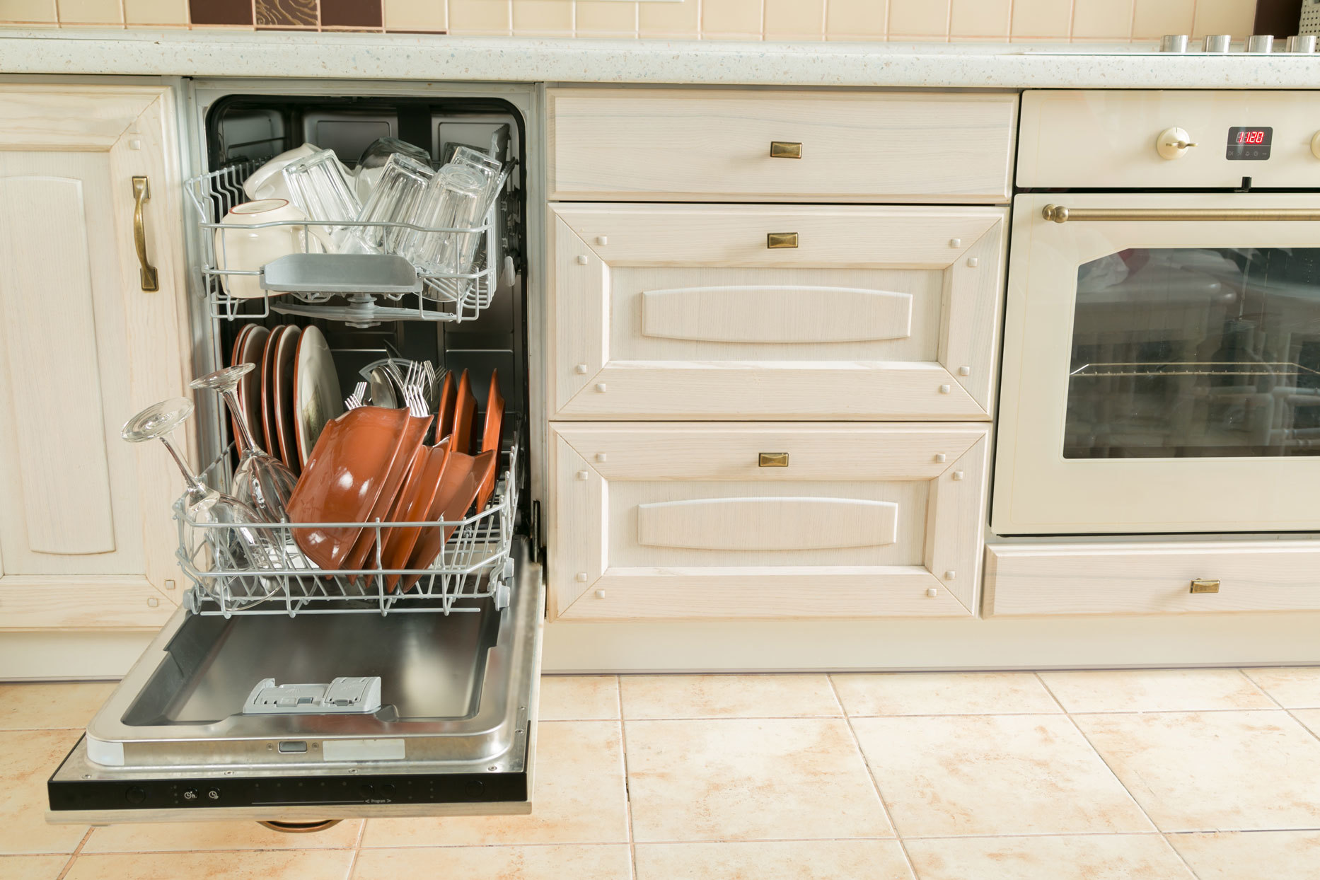 open fully loaded dishwasher