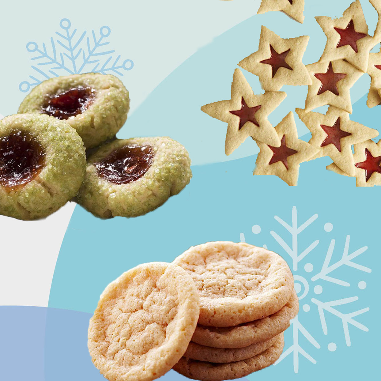 Holiday Cookies against a winter graphic background