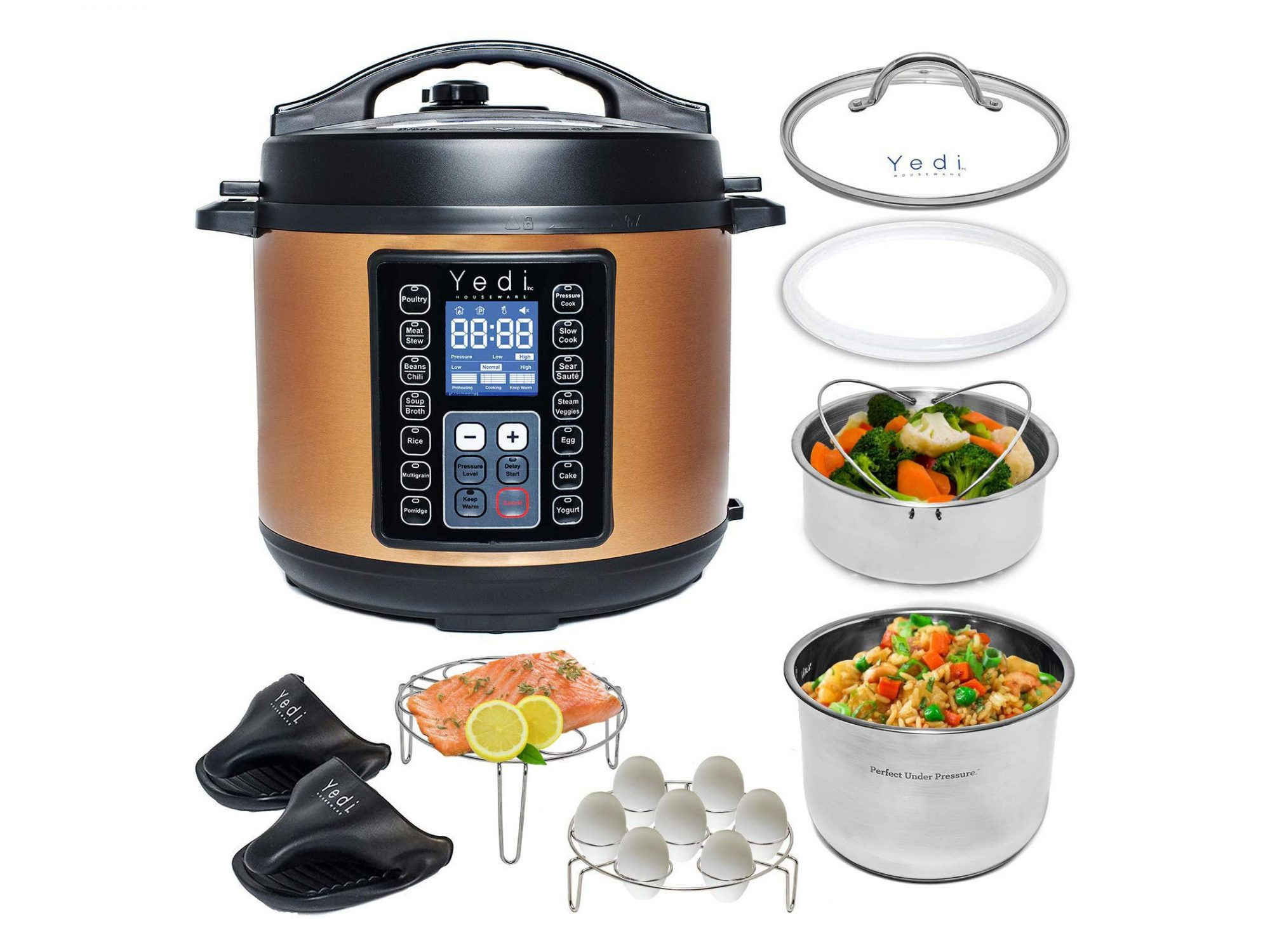 Yedi 9-in-1 Total Package Instant Programmable Pressure Cooker with all parts displayed