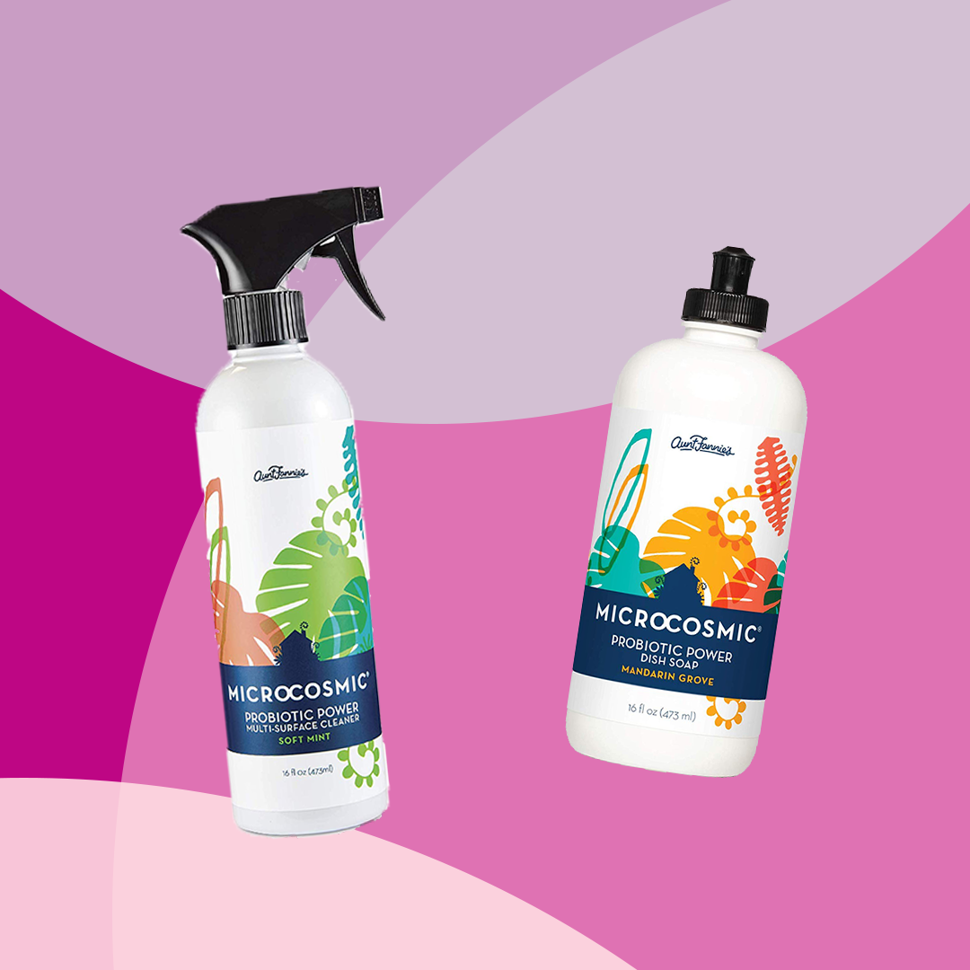Microcosmic brand Probiotic Power multi-surface cleaner and dish soap
