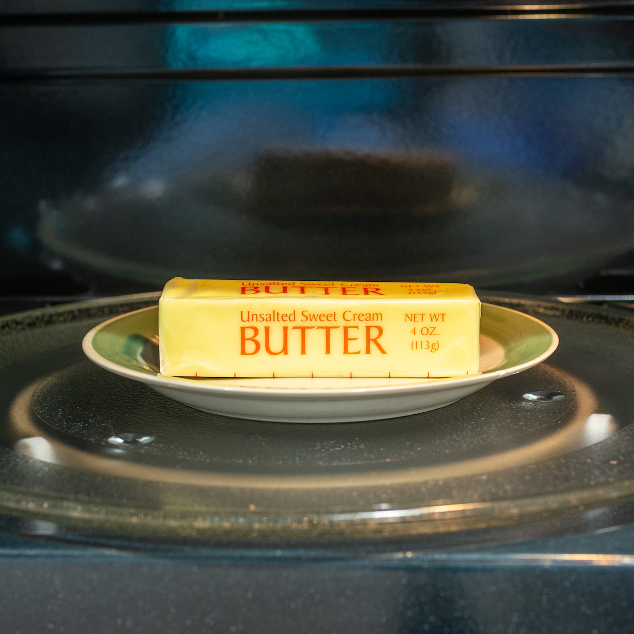 softening a stick of butter in the microwave
