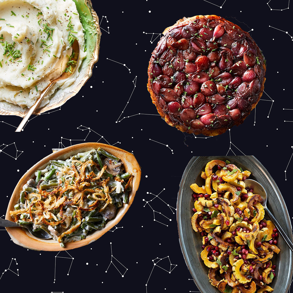 Thanksgiving sides with astrological graphic in the background