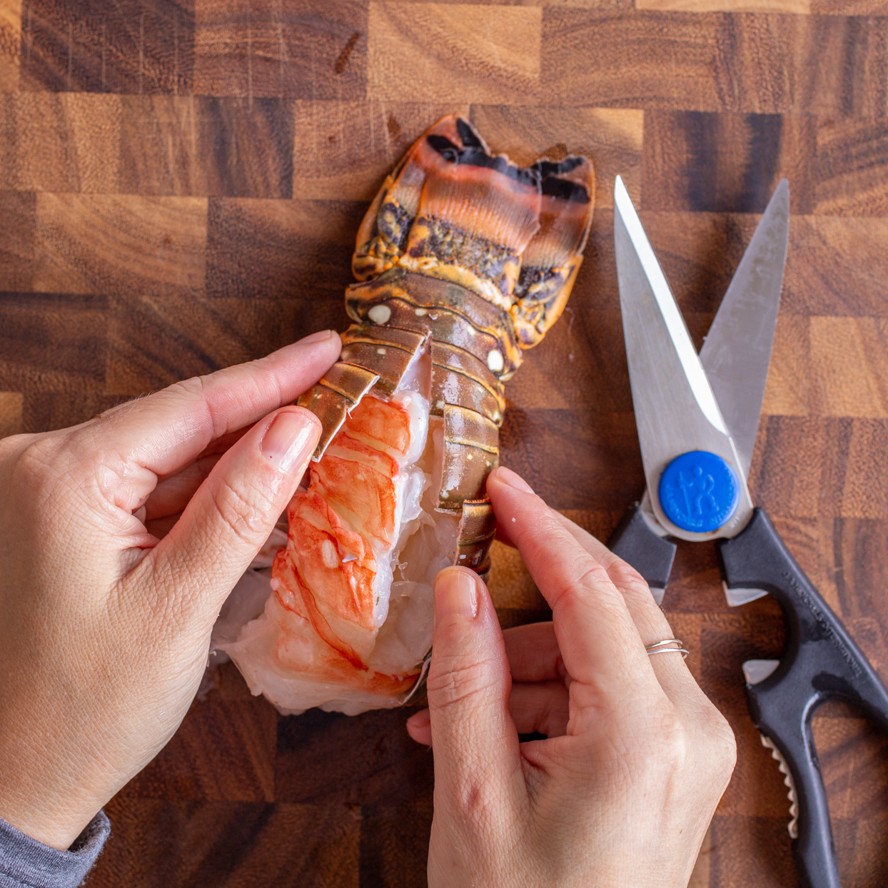 hands butterfly a lobster tail