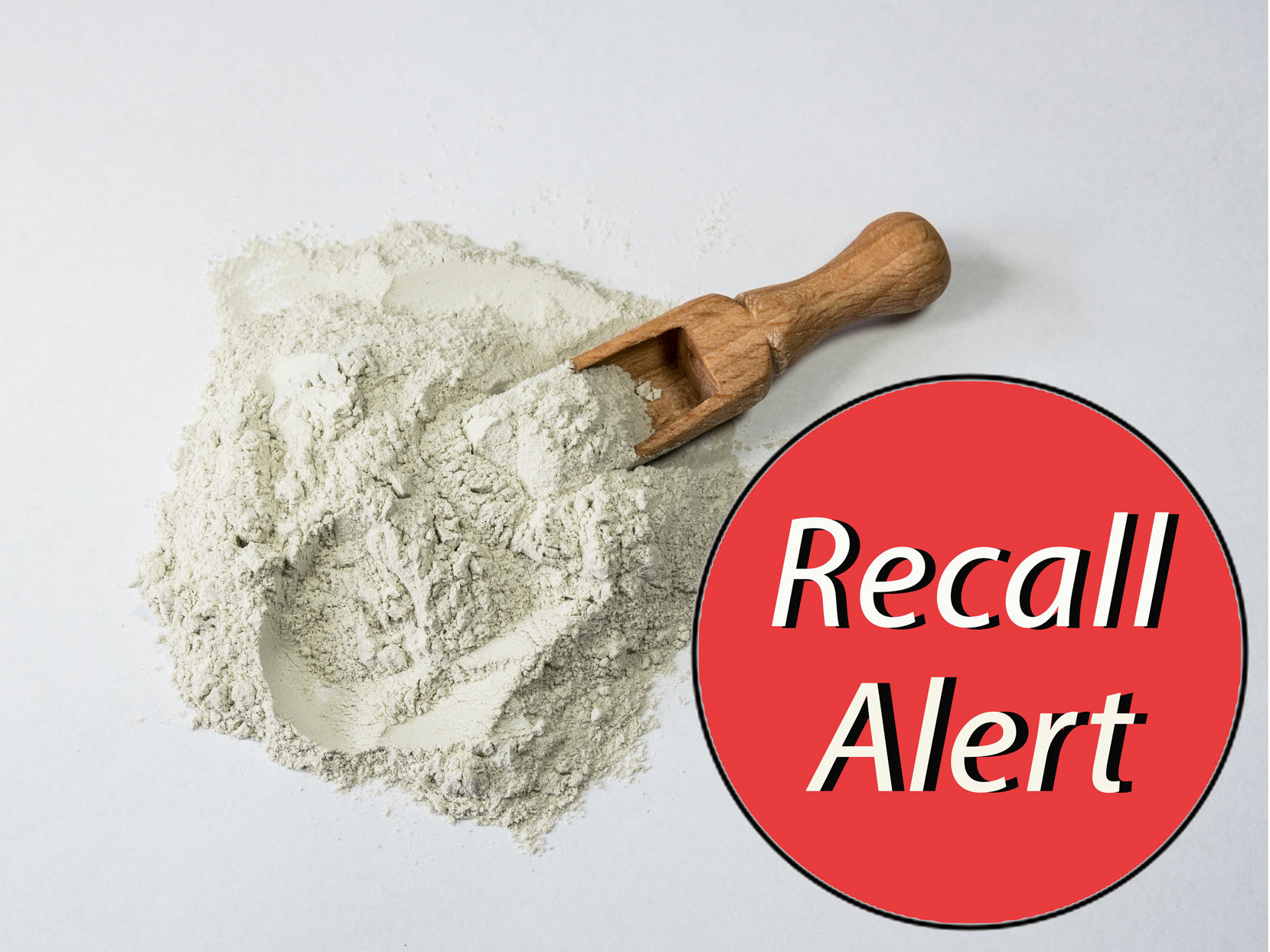 """Loose flour with red sticker that says """"Recall Alert"""""""