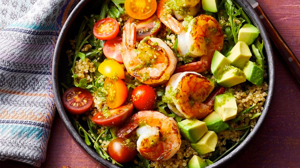 charred shrimp and pesto buddha bowl