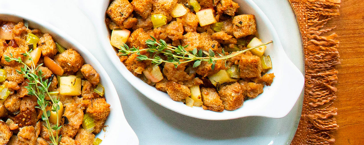 two small dishes of stuffing