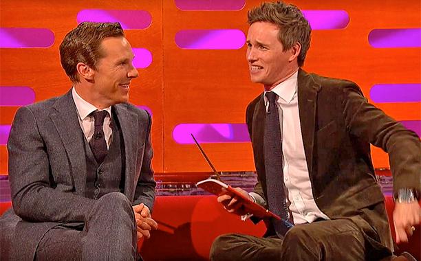 Graham Norton Eddie Redmayne Benedict Cumberbatch Have A Meeting Of Wizards Ew Com