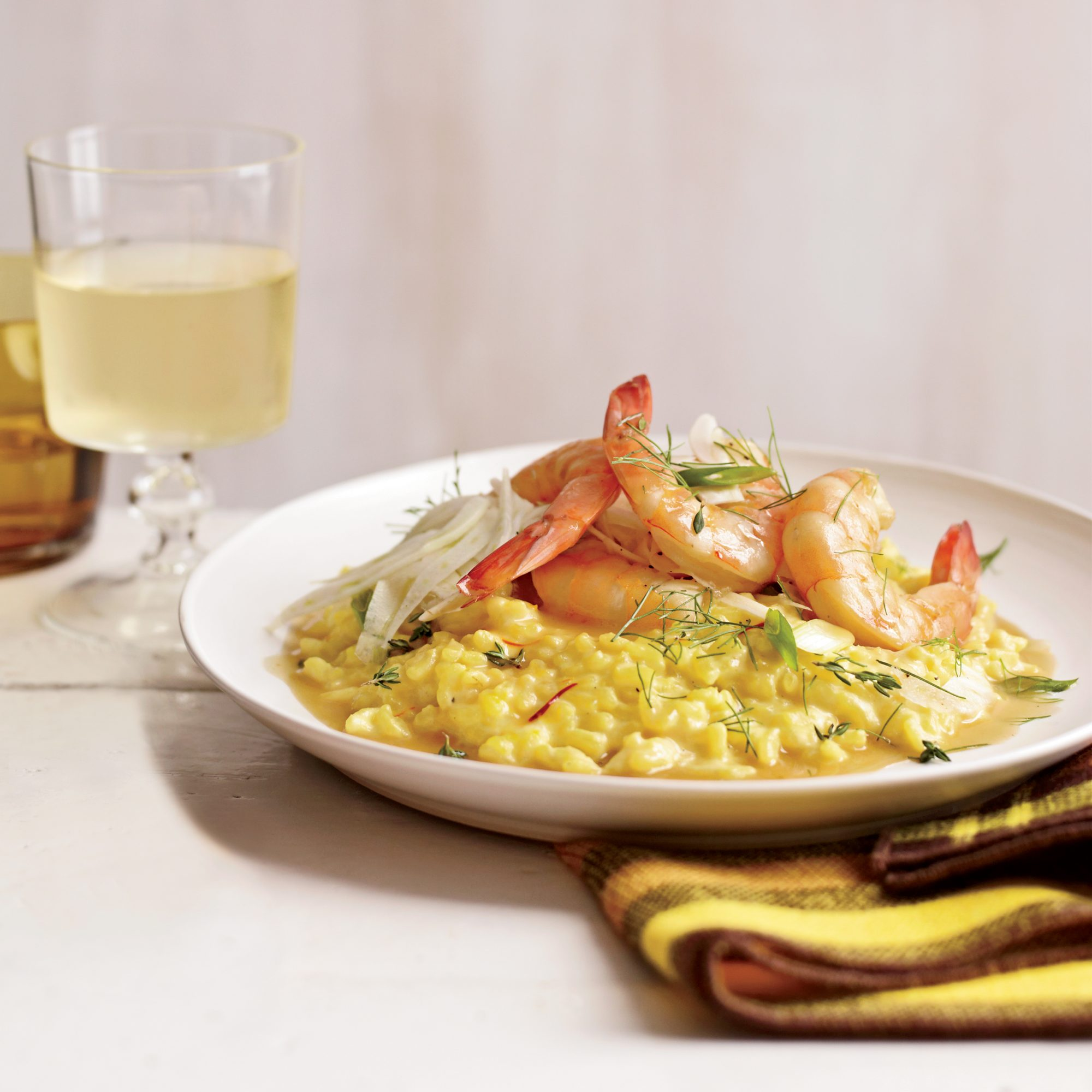 Shrimp With Saffron Rice And Fennel Salad Recipe Joshua Hopkins Food Wine