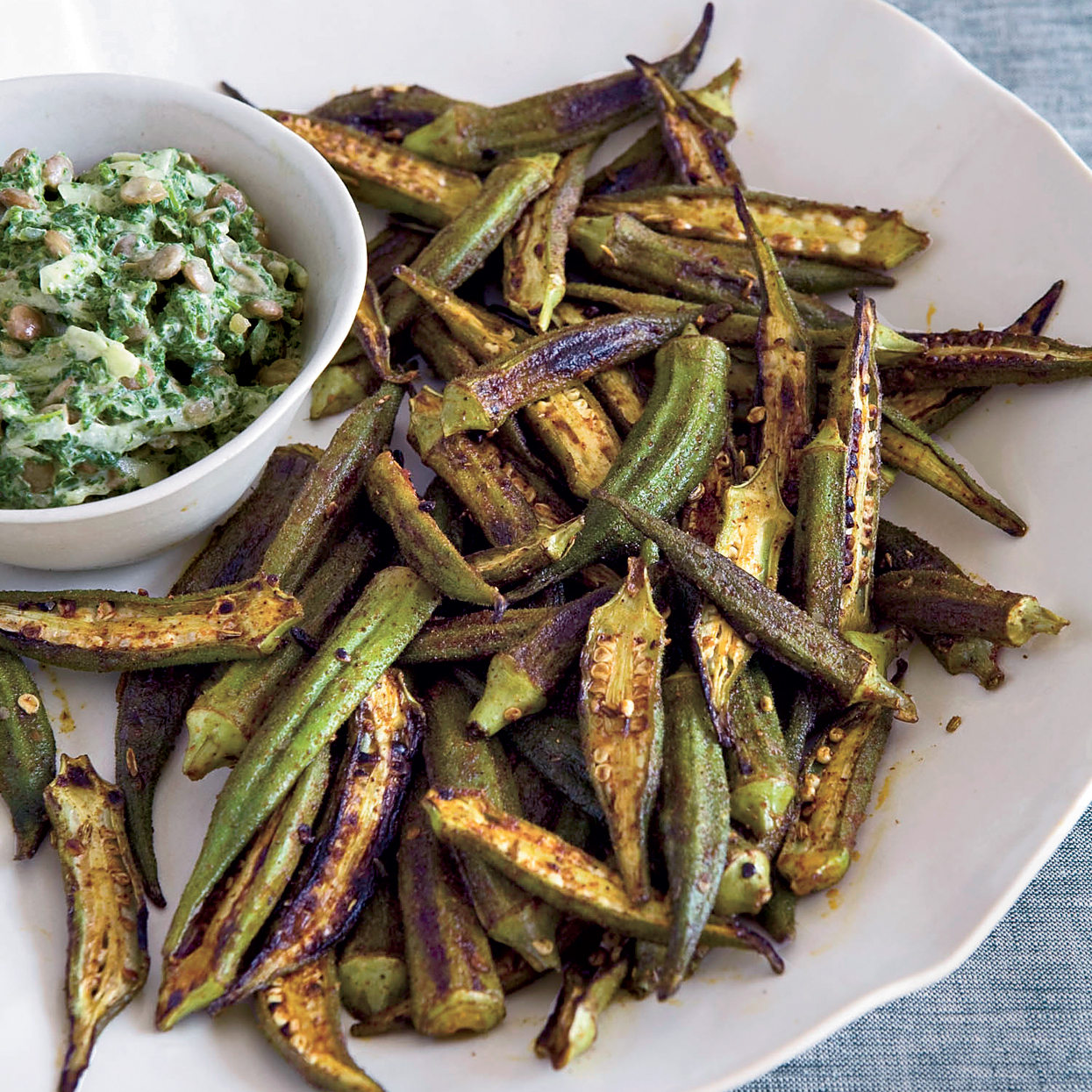 Skillet Roasted Spiced Okra Recipe Kevin Gillespie Food Wine