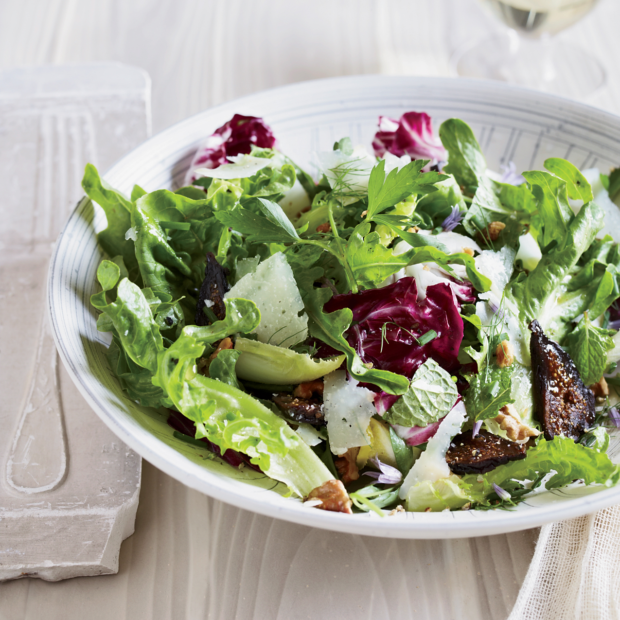 Mixed Greens And Herb Salad With Figs And Walnuts Recipe Jessica Theroux Food Wine