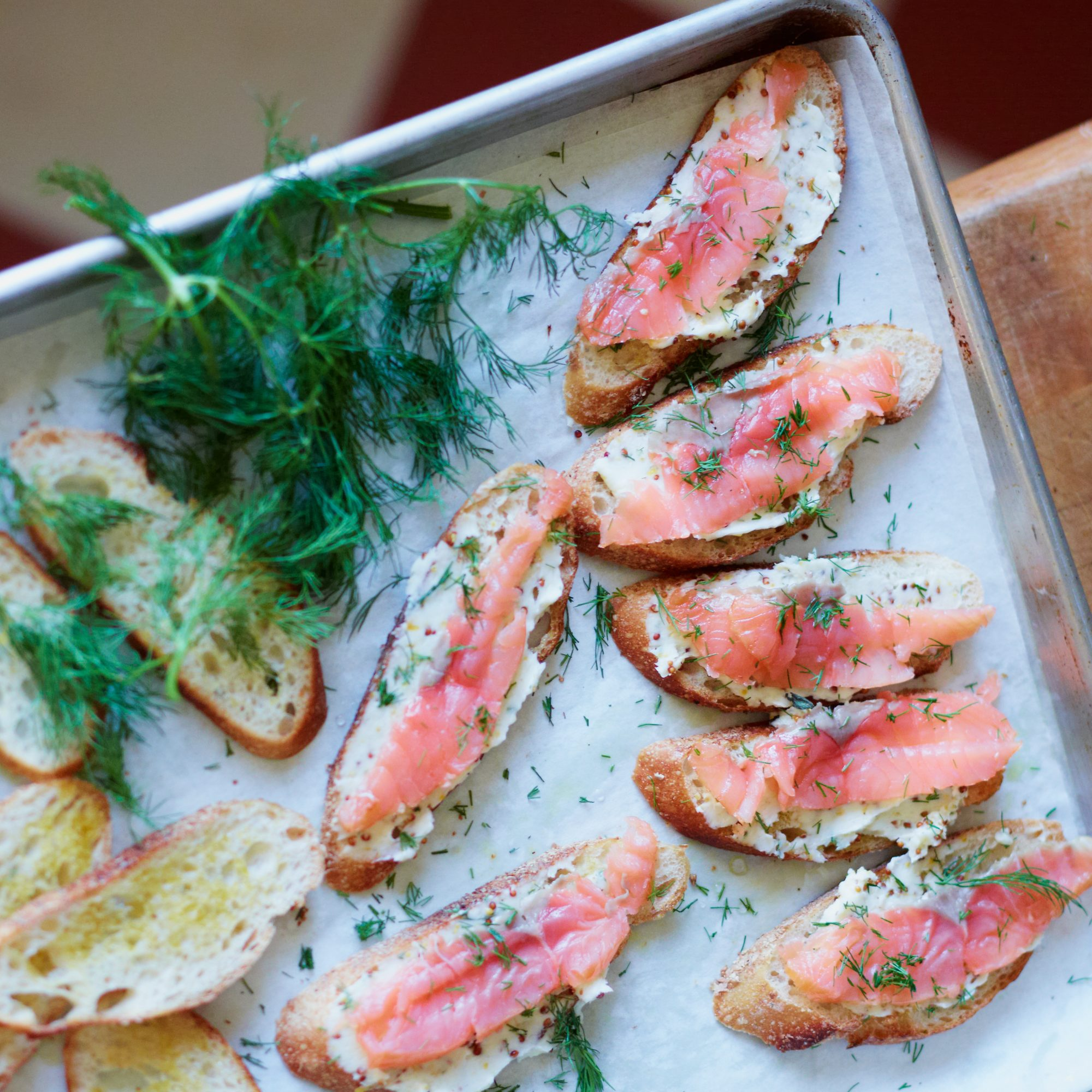 Salmon Toasts With Mustard Butter Recipe David Tanis Food Wine