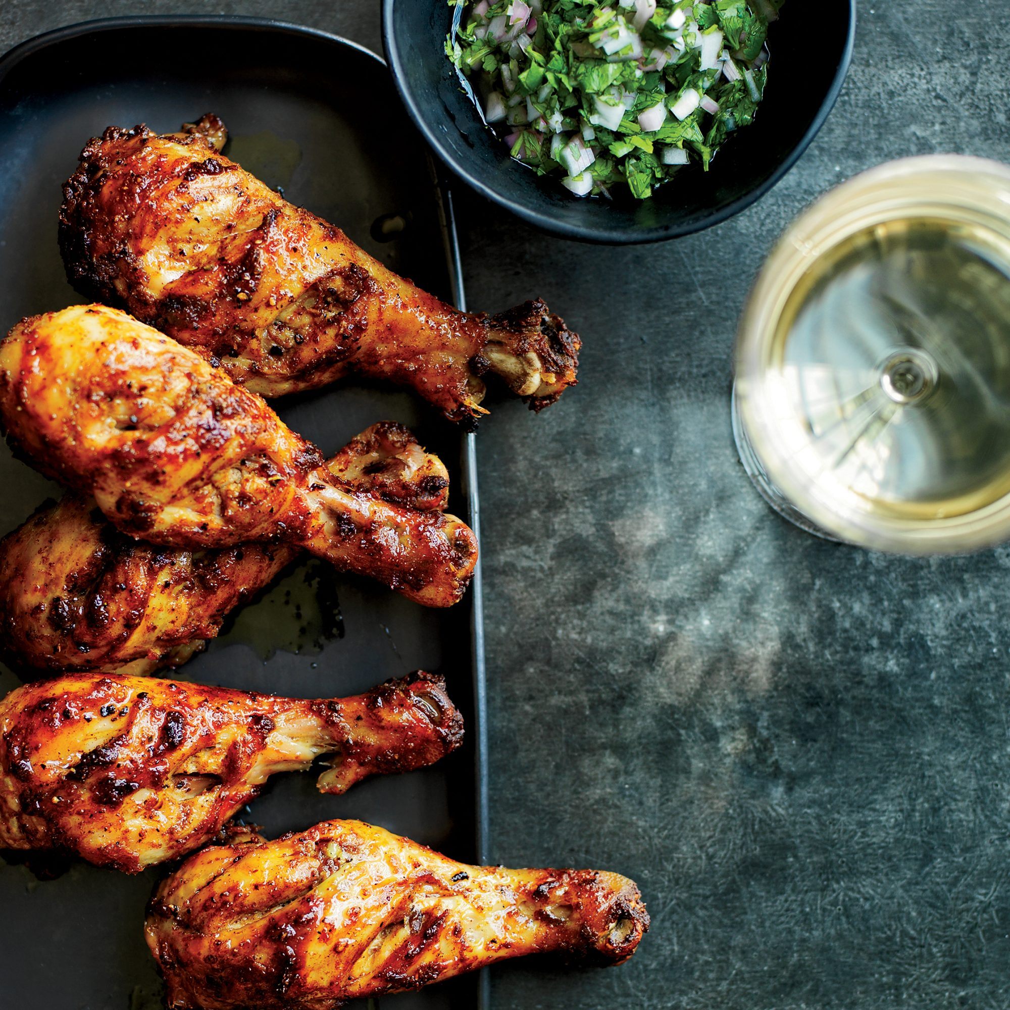 Tandoori Chicken Drumsticks With Cilantro Shallot Relish Recipe Kay Chun Food Wine