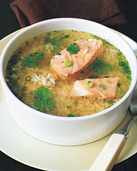 Asian Salmon And Rice Soup Recipe Quick From Scratch Soups Salads Food Wine