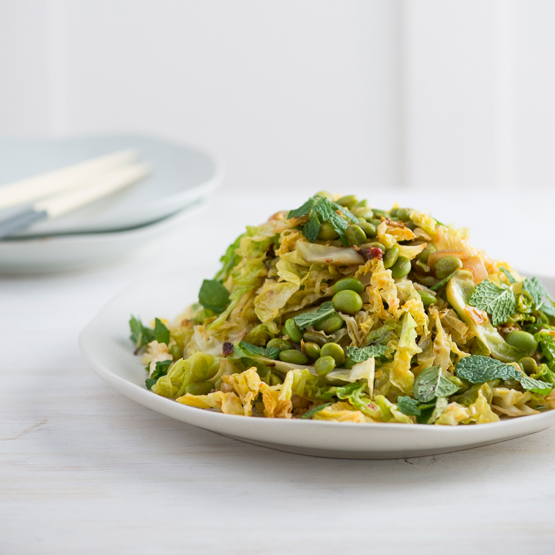 Spicy Stir Fried Savoy Cabbage And Edamame With Fresh Mint Recipe Todd Porter And Diane Cu Food Wine