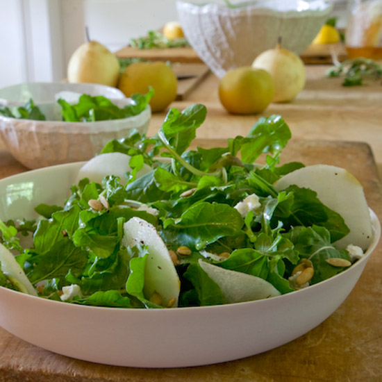 Asian Pear And Arugula Salad With Goat Cheese Recipe Randy Dudley Food Wine