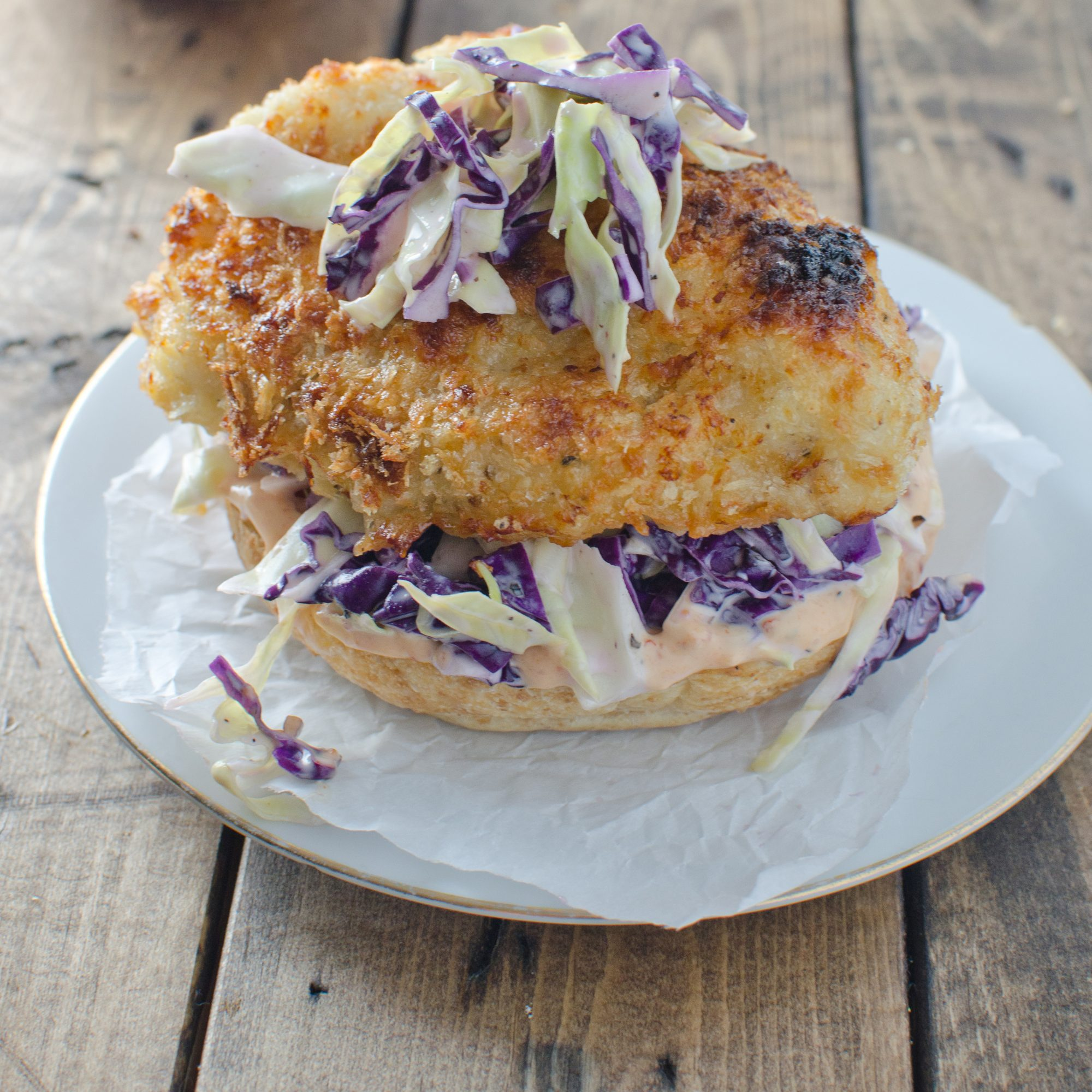 Crispy Chicken Burger With Coleslaw And Chipotle Mayo Recipe Kristen Stevens Food Wine