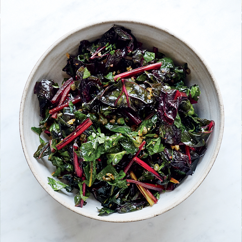 Wilted Swiss Chard With Warm Piccata Vinaigrette Recipe Kay Chun Food Wine