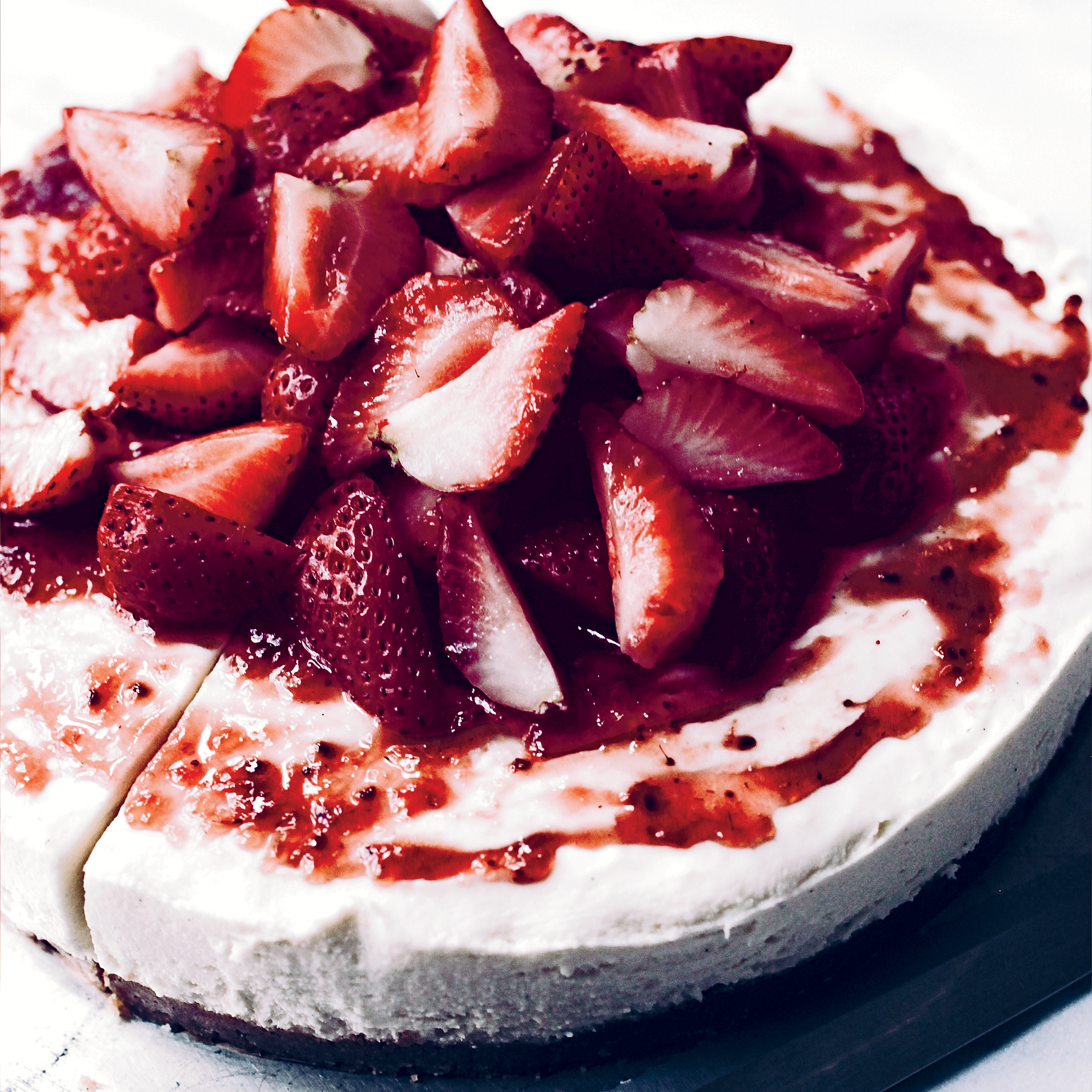 No Bake White Chocolate Cheesecake With Strawberries Recipe Kamran Siddiqi Food Wine