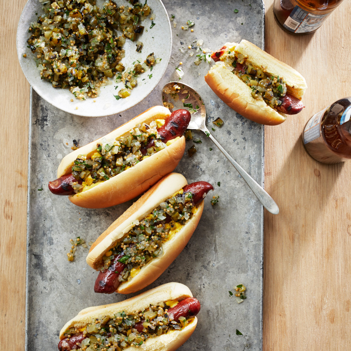 Hot Dogs With Grilled Pickle Relish Recipe Justin Chapple Food Wine