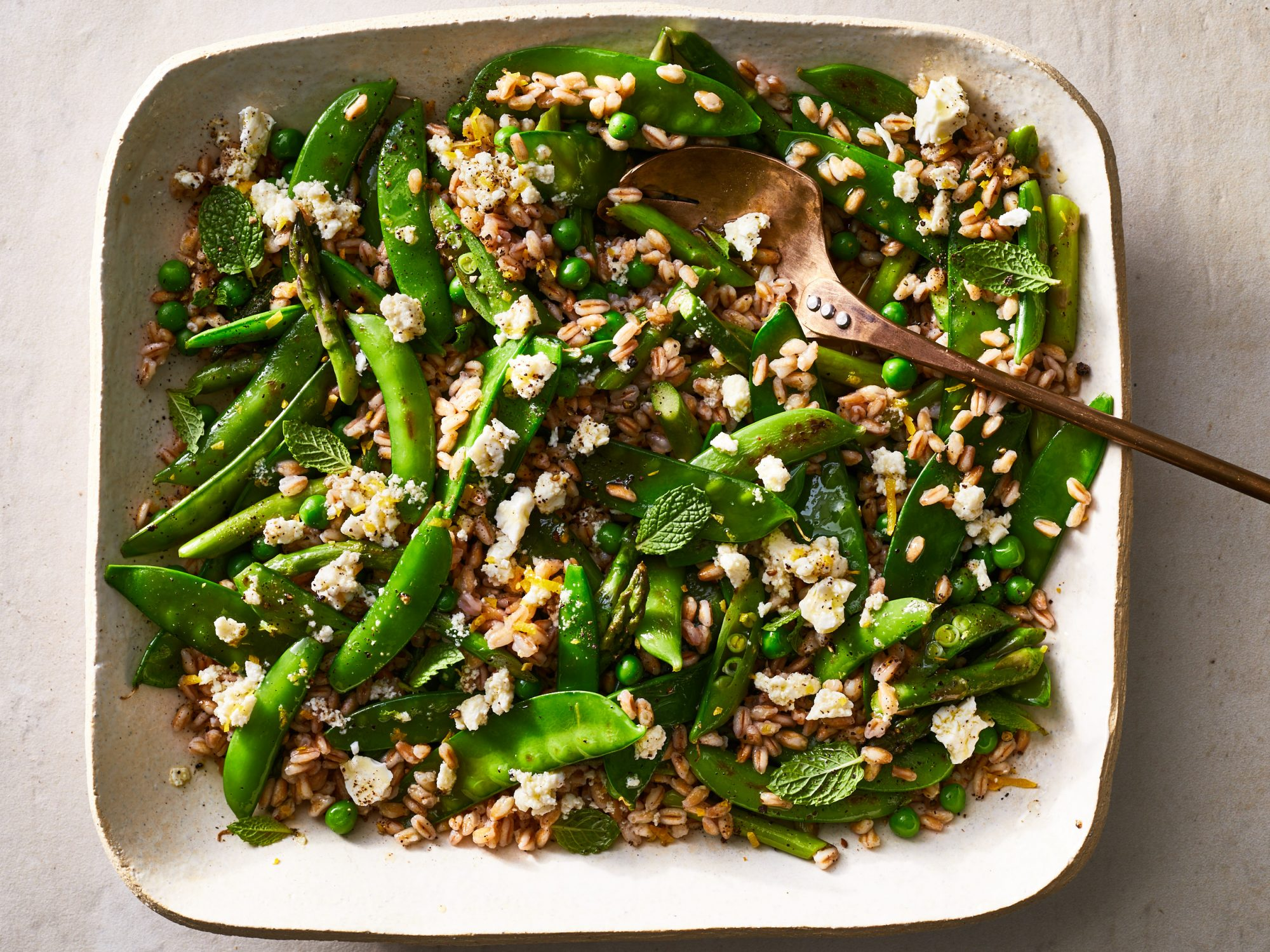 Triple Pea And Asparagus Salad With Feta Mint Dressing Recipe Hetty Mckinnon Food Wine