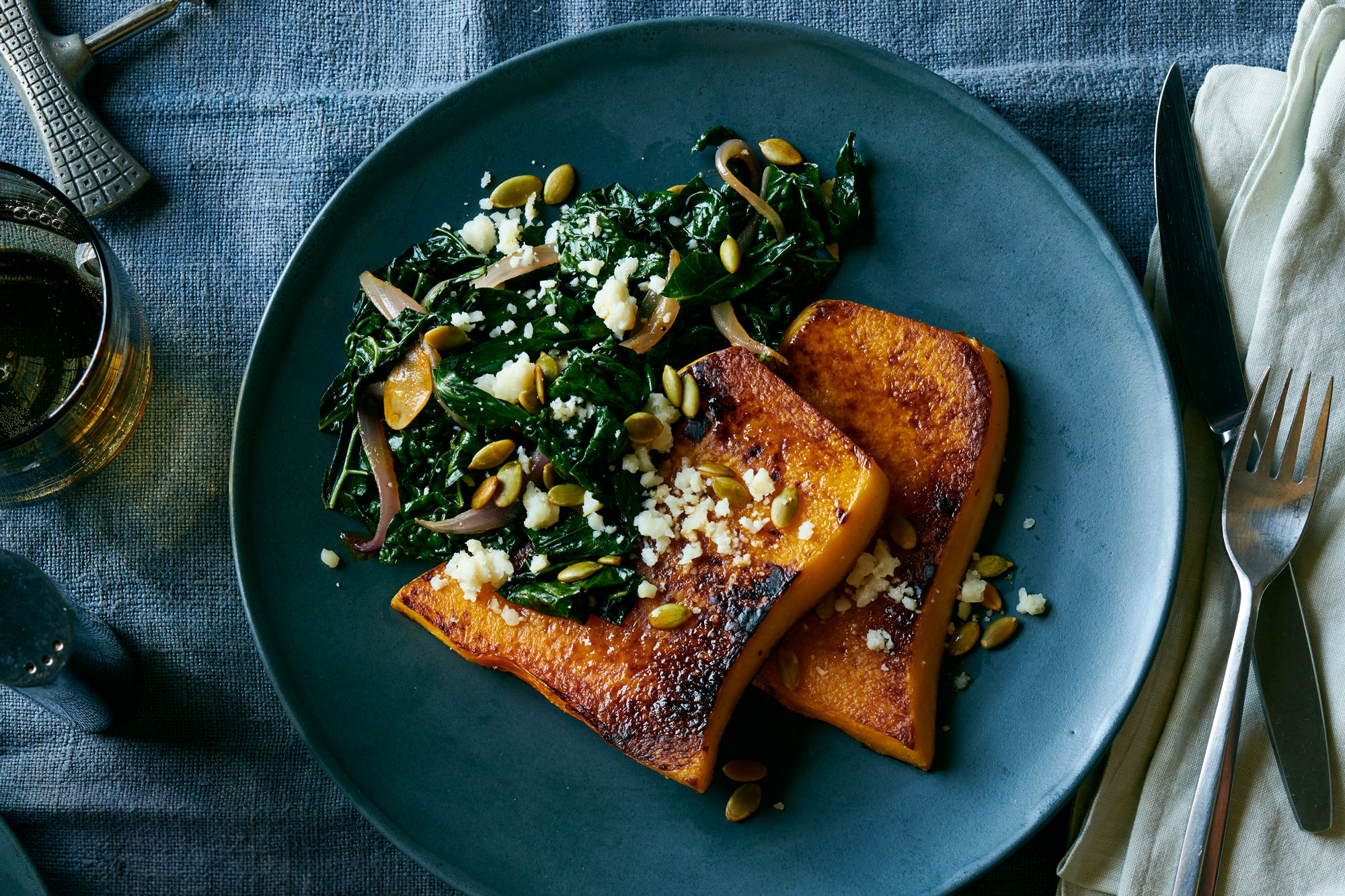 Roasted Butternut Squash With Chorizo Spiced Kale Recipe Damian Sansonetti Food Wine